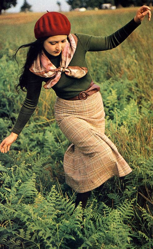 Vintage fall style, plaid skirt. green top, scarf, and baret