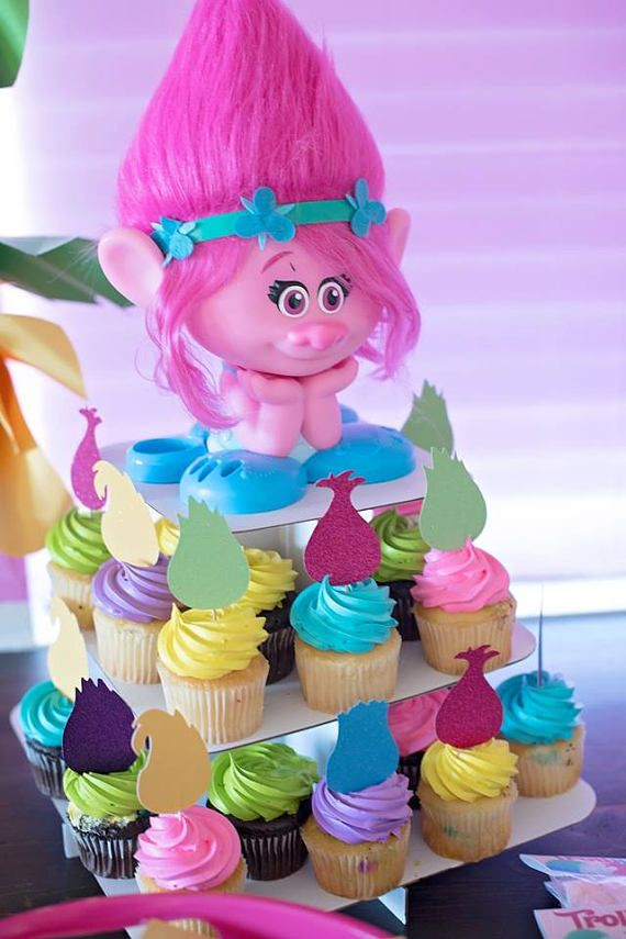 trolls cupcake toppers trolls hair set of 12  with images