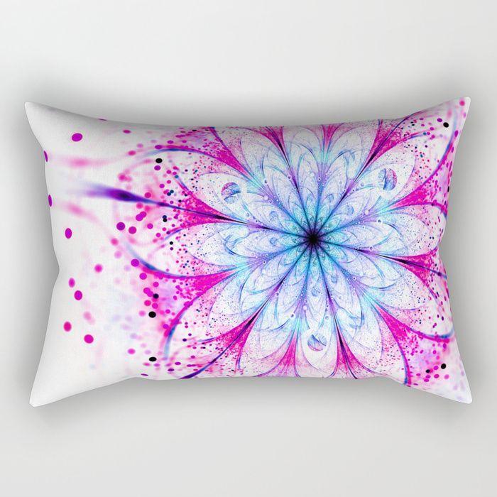 Winter Pink glittered Snowflake Rectangular Pillow #OksanaAriskina  #Artworks #FineArtPhotography #HomeDecor #FineArtPrints #FineArtAbstract #Fractal #Abstract #ArtForSale #Snowflake #Christmas #Pink #Flower #Bokeh #fractal