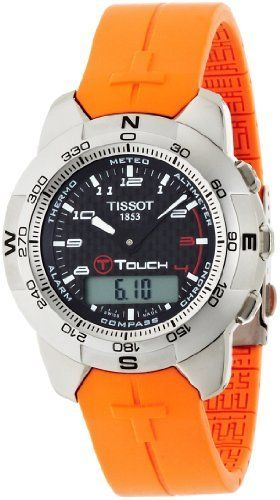 Tissot Men's T33787892 T-Touch Polished Titanium Orange Rubber Watch Tissot. $671.25. Precise Swiss-Quartz movement. Touch-screen technology with 8 separate functions:  Altimeter, Chrono, Compass, Alarm, Thermometer, Barometer (Meteo), and Date and Time. Water-resistant to 99 feet (30 M). Case Diameter - 42mm; Crystal - Tactile Scratch-Resistant Sapphire. Easy to use - Activate by pressing on the crown and the touch-screen. Save 21%!