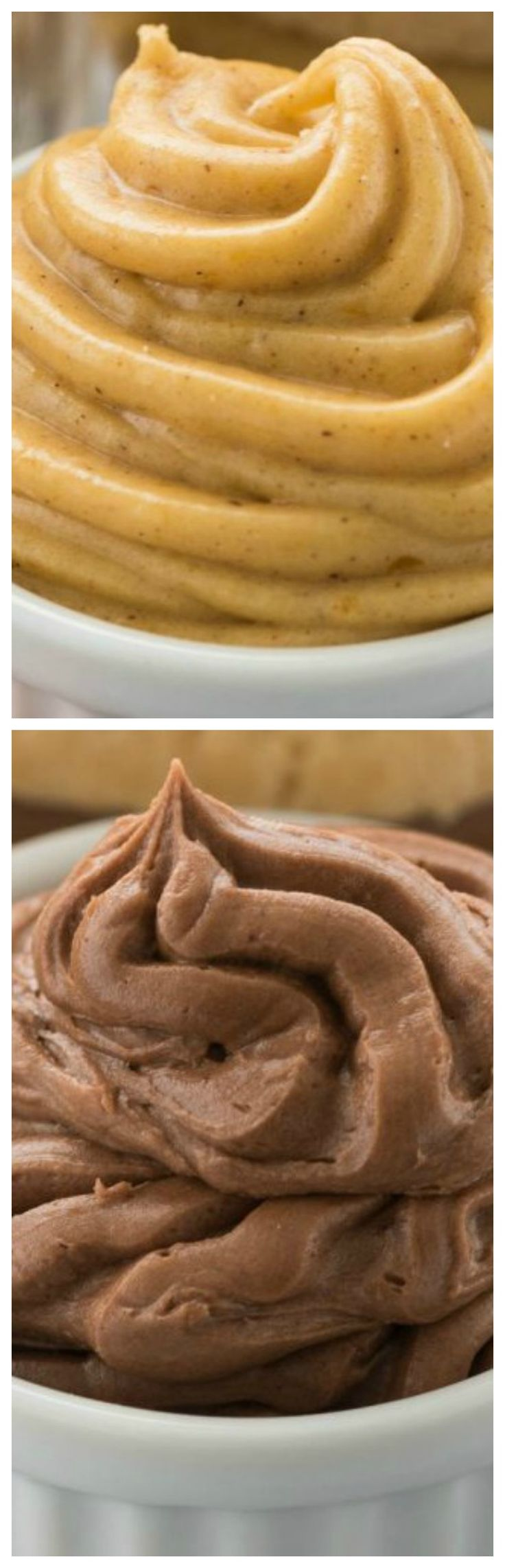 Easy Pumpkin Spice Cream Cheese Frosting and Mocha Frosting ~ These easy frosting recipes are perfect for cupcakes or shortbread cookie sandwiches!