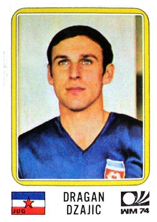 Dragan Dzajic of Yugoslavia. 1974 World Cup Finals card.