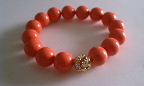 Coral Bracelet Coral Jewelry Gold Bead Bridesmaid Gifts by AlishaBaird,