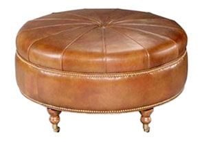 "I would love this in a darker shade of brown.  Rupert ""Designer Style"" Round Leather Ottoman With Casters"