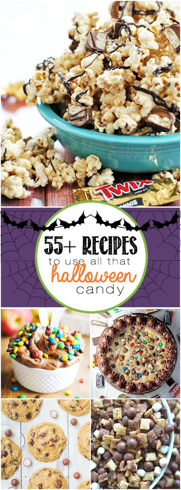 Over 55 recipes that use up all that leftover Halloween candy in delicious treats!