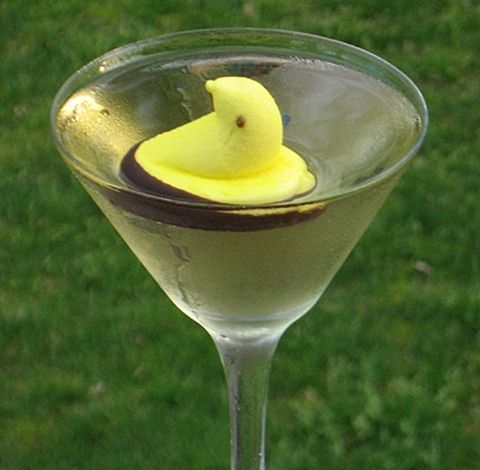 Chocolate Peep Martini ~ Pinnacle Marshmallow Vodka, Three Olives Chocolate Vodka, Creme de Cacao (clear), Banana Schnapps (mostly to give things a yellow tint), a Peep with Chocolate base for garnish