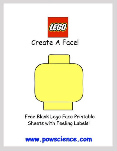 Free Printables: Blank Lego Minifig Create-A-Face with Feelings Labels. Fun Free Lego Activity!