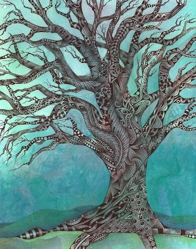 """Enthusiastic Artist: A tangled tree. This tangled tree is done on 8""""x10"""" illustration board.(c) 2013, Margaret Bremner, Certified Zentangle Teacher"""