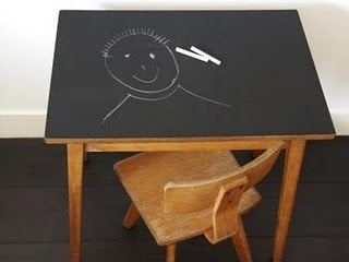 "Could use chalkboard contact paper to cover any kids' table/desk.  Cheap on Amazon- approx $10 for a roll 18""x6'.  Have used on wall and worked great."