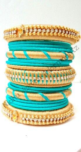 Silk Thread Bangle with Zigzag bangle n the centre n Border Stone work bangle