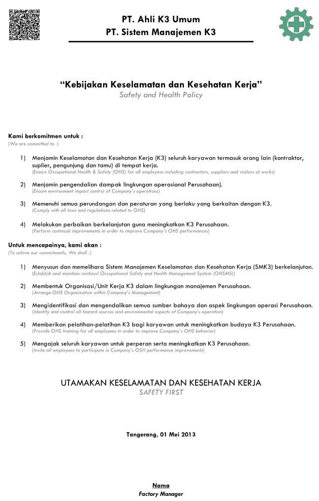 Kebijakan K3 (OHS Policy)