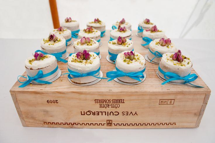 Handmade mini wedding cakes by Terry, perfect for a summer wedding.