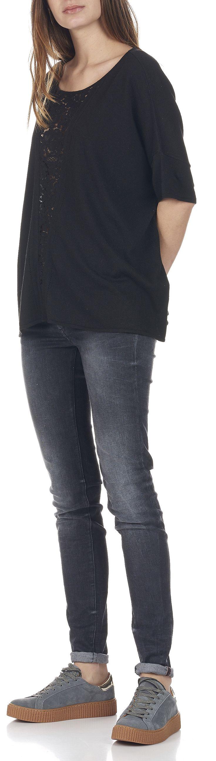 PULL AMPLE EMPIÈCEMENT DE DENTELLE EN LAINE ET CACHEMIRE PHILIBERT 02-NOIR SUNCOO - Eboutique FEMME | Place des Tendances