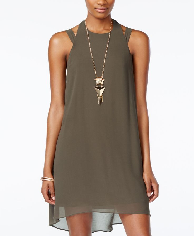 City Studios Juniors' High-Low Halter Shift Dress with Necklace