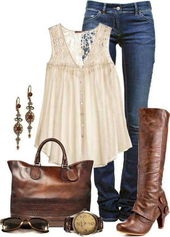 White tank,brown baga and boots,jeans and accessories:))