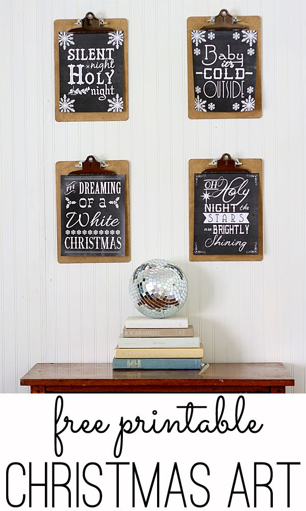 Free Christmas Songs Printable Chalkboard art - two of a free set of four