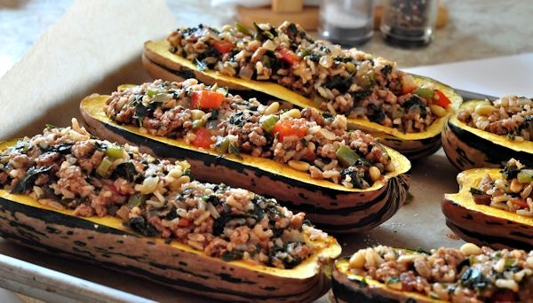 Delicata Squash Stuffed With Spiced Meat And Tomatoes Recipes ...