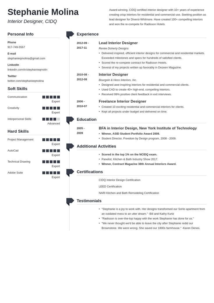 Interior design resume examples key skills and