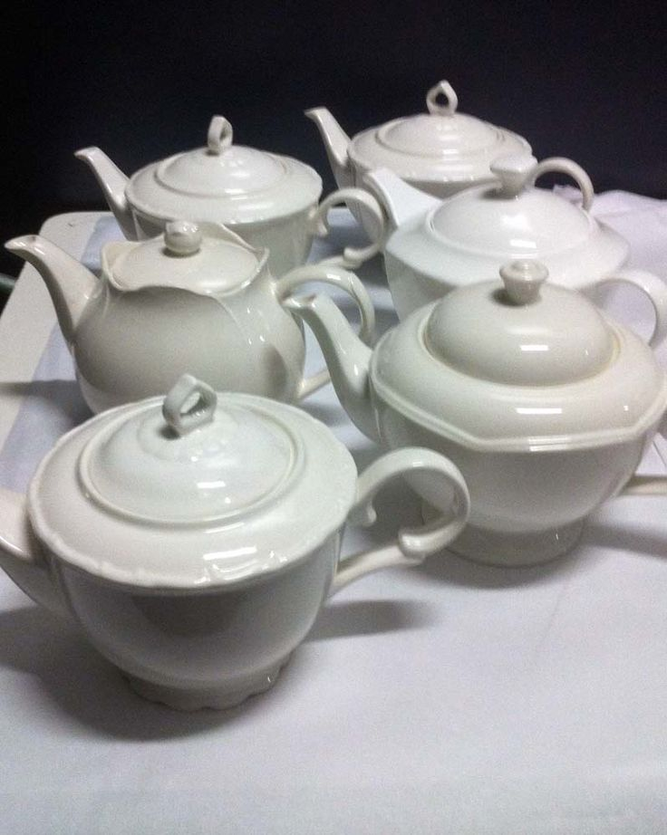 White fine china teapots