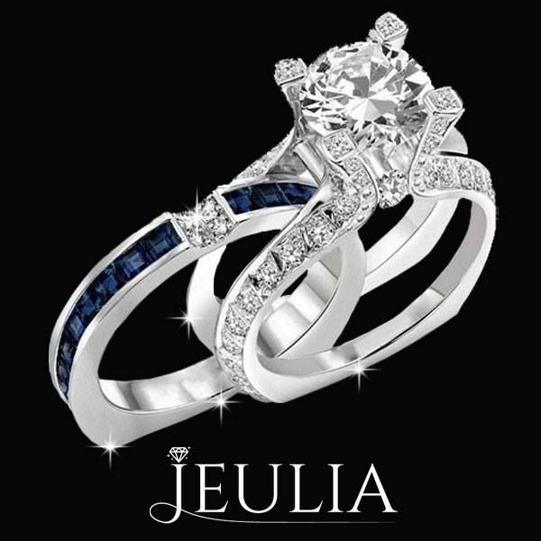 Blue And White 18K Platinum Plated Bridal Set. #jeulia #bridalset #fashionjewelry