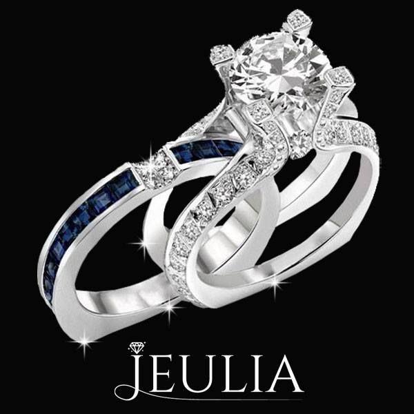 Blue And White 18K Platinum Plated Bridal Set. #jeulia #bridalset #fashionjewelry