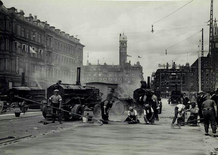 Vejarbejde på Vesterbrogade i 1930erne