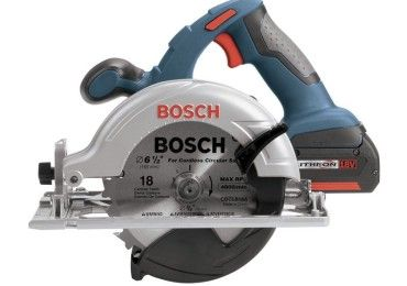 Side profile of a Bosch 18 volt cordless circular saw.