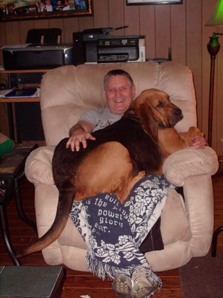Duke, our bloodhound, thinks he is still a puppy!  He weighs about 130 lbs.: 130 Lbs