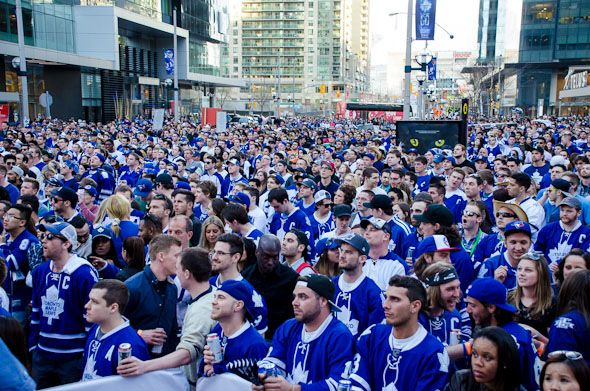 Photos of Leafs fans at Maple Leaf Square. May 2013