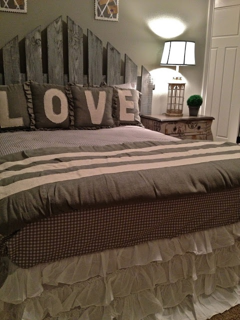 The Headboard is an old fence gate, it still has all of its original hardware, I fell in love with it!