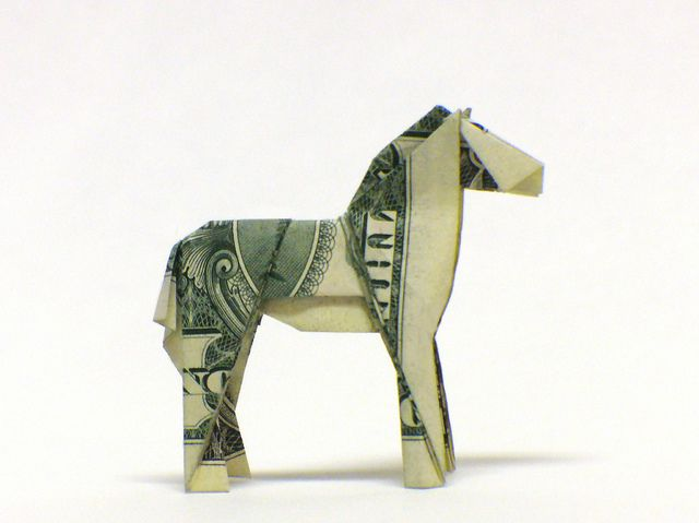 $ Przewalski's Horse by the real juston: Money-gami!  http://www.creased.com  issue #3 of Creased magazine for directions