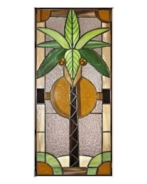 Custom Made Stained Glass Panel Tropical Palm Tree