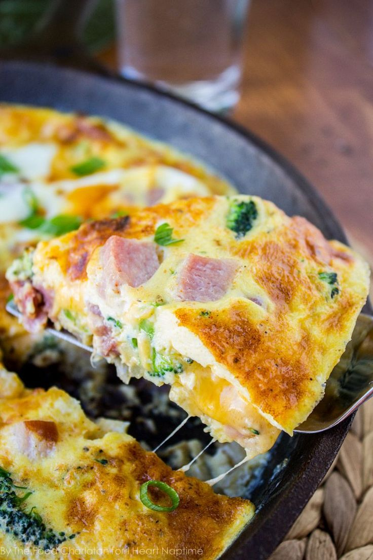 Cheesy Ham and Broccoli Frittata. Delicious recipe for breakfast or dinner!