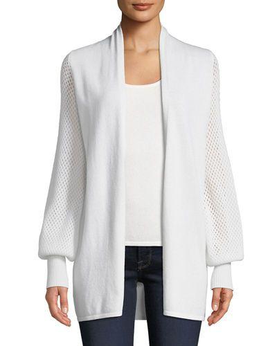 Txgce Neiman Marcus Cashmere Collection Cashmere Mesh Blouson Sleeve