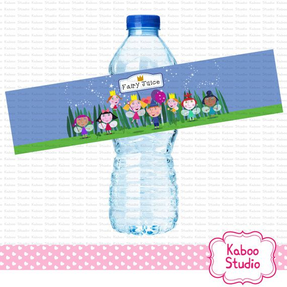 Printable Ben and Holly Inspired water bottle by KabooStudio