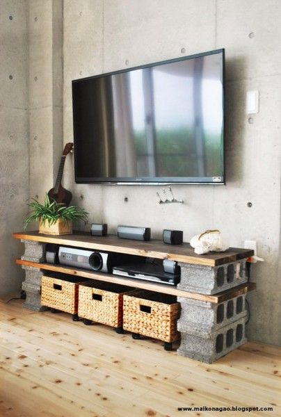 Solid and Sturdy Cinder Block Entertainment Table