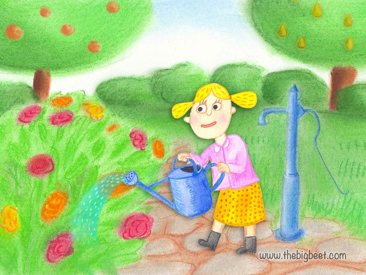 (6/14) Then grandma called her granddaughter, who was watering some flowers in the garden.