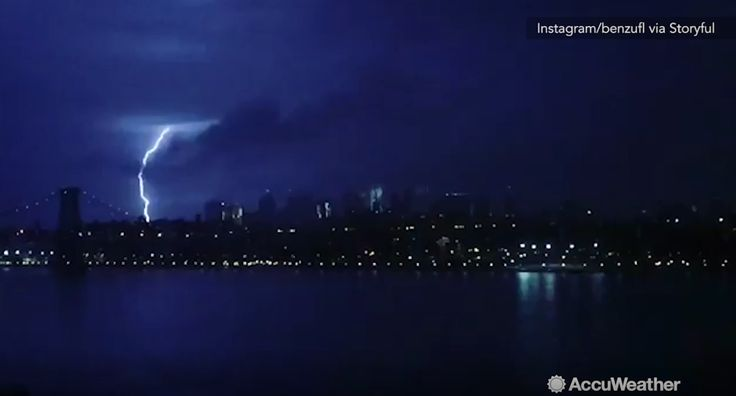 Severe storms swept through the Northeast bringing lightning to the region, including this one that lit up the New York skyline.