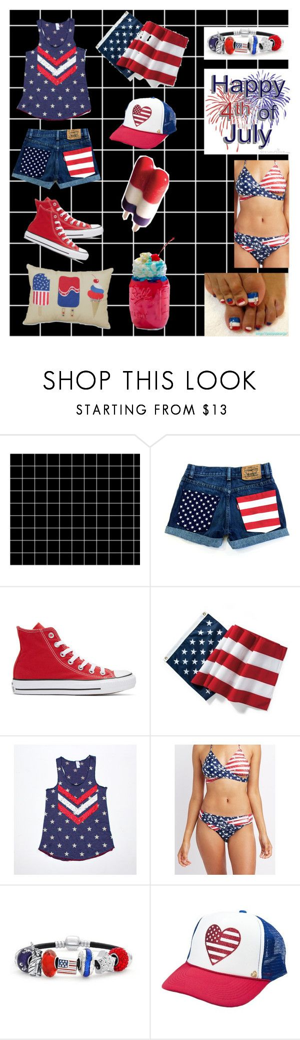 """4th of July!!!"" by echey on Polyvore featuring INDIE HAIR, Converse, Grandin Road, Charlotte Russe, Bling Jewelry and Mother Trucker"