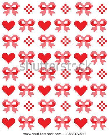 cute cross stitch bows pattern design. vector illustration - stock vector
