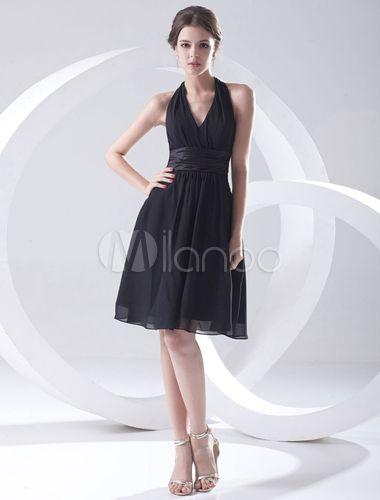 robe de soire a ligne noire en chiffon licou longueur genou milanoo - Milanoo Robe De Soiree Pour Mariage