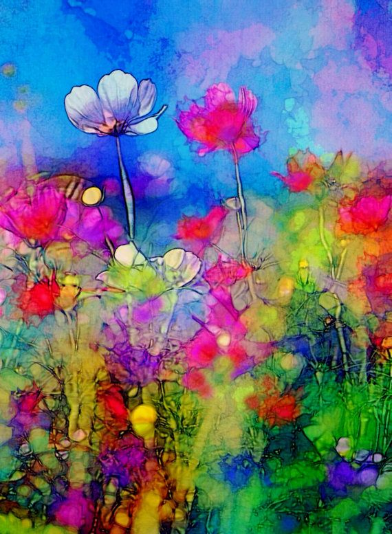 Spring Dance  abstract mixed media painting by RobinMeadDesigns, $10.00