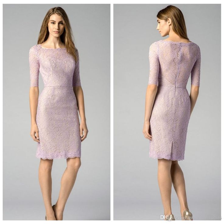 Lilac Lace Bridesmaid Dresses 2015 Bateau Half Sleeves Knee Length Short Maid of Honor Dresses Formal Dresses Full Back Zip Custom Made Size Online with $99.48/Piece on Graceful_ladies's Store | DHgate.com
