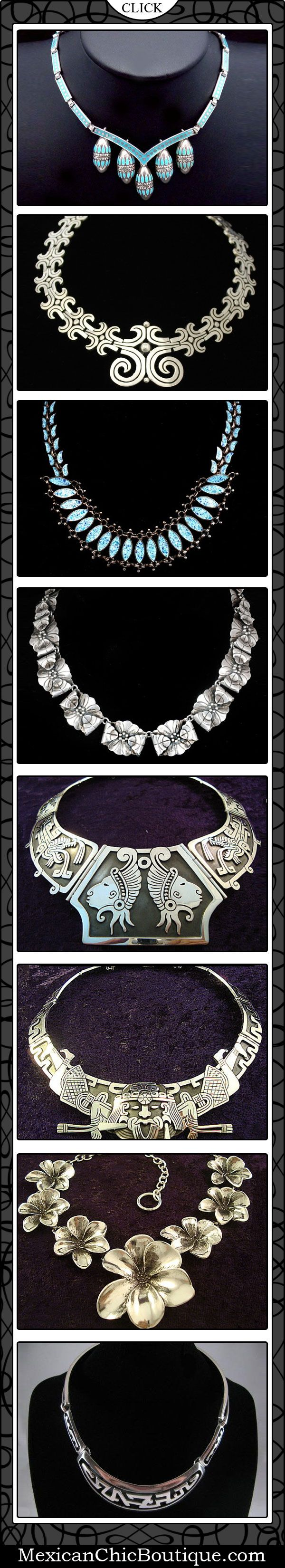 Taxco Jewelry ♥ Bold Necklace ♥   Mexican Sterling Silver ♥ Taxco Vintage Sterling Silver (http://www.mexicanchicboutique.com/)