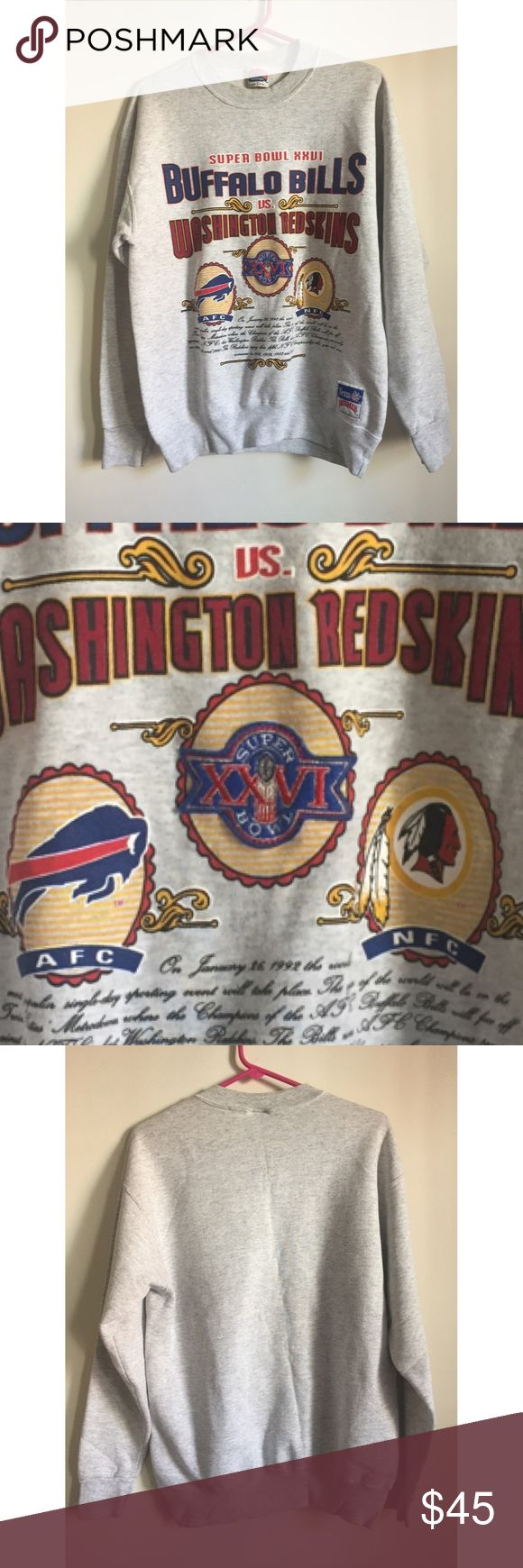 Official NFL 1992 Super Bowl Memorabilia-Redskins Super Bowl XXVI was an American football game between the National Football Conference champion Washington Redskins and the American Football Conference champion Buffalo Bills to decide the National Football League champion for the 1991 season... Champion Redskins  Sweatshirt in Fantastic Condition and Embroidery in Super Bowl Ring is Amazing Authentic Original Vintage Style Sweaters Crewneck
