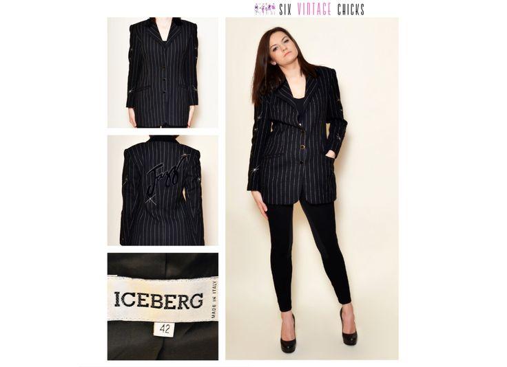 Vintage ICEBERG Blazer/ 90's black, Elegant style, Embroidered Jacket/ Vintage Woman's Clothing/ Size XL/42/Free Shipping by SixVintageChicks on Etsy