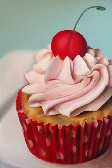 "Cherry Filled Almond Cupcake  Oil on Stretched Canvas  24""x36"" Sarah Wain"