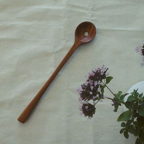 Hand Carved Pitch Pine Olive Spoon