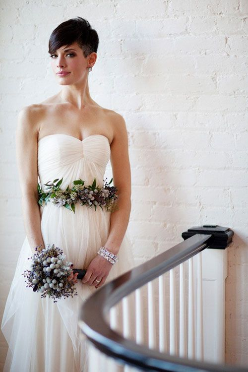 Why do people think they have to grow their hair out for the wedding day? This is so classy and elegant.
