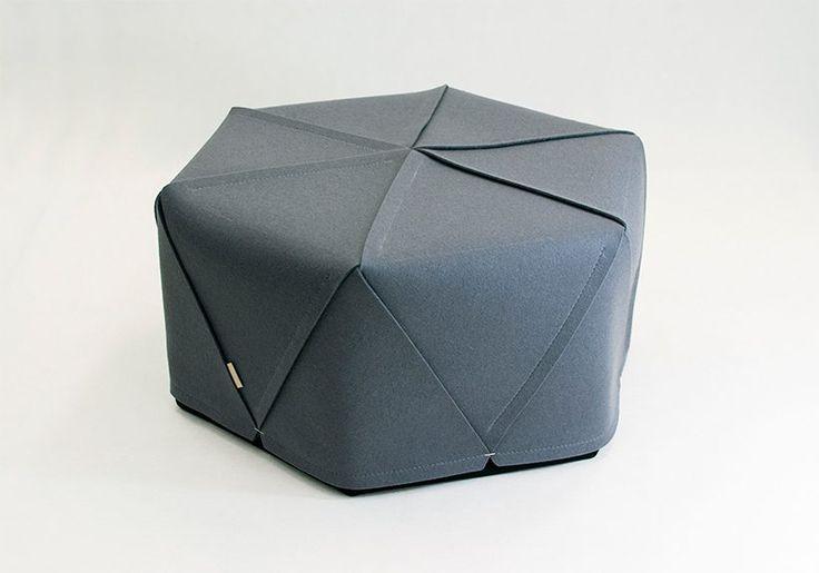 ROMBI by Kumeko, geometric hexagonal pouf / ottoman, pure wool felt